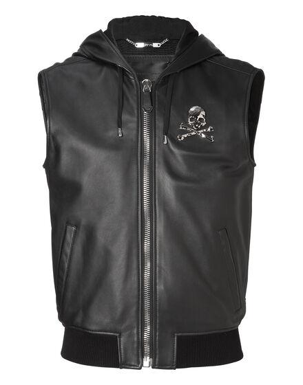 Leather Vest Short My skull