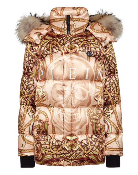 Nylon Jacket with Fox fur print New Baroque