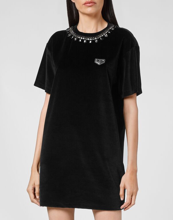 Velvet T-shirt Dress Crystal Chain