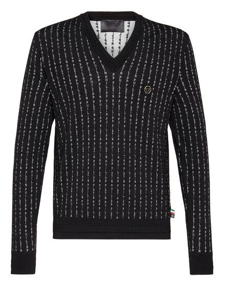 Pullover V-Neck LS  Pinstripe Plein