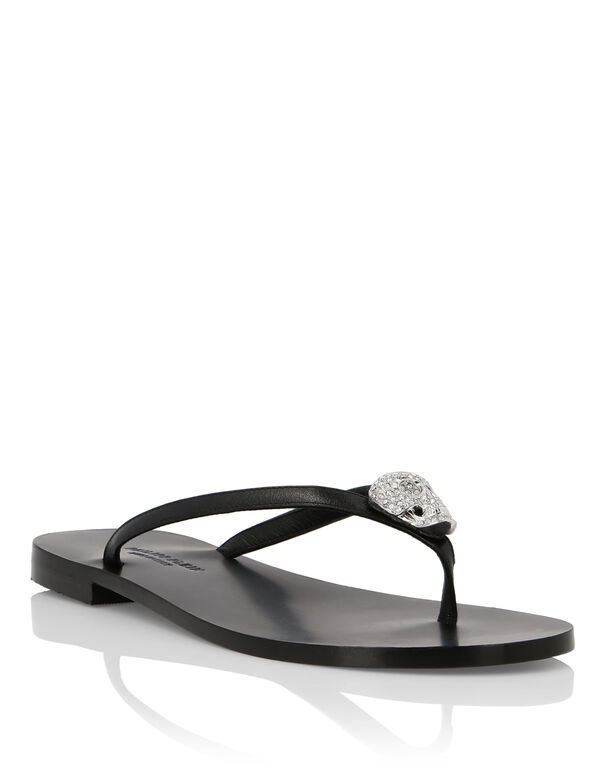 Leather Sandals Flat Statement