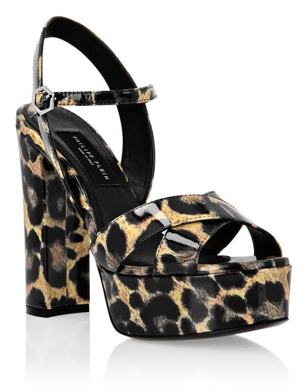 Patent leather Sandals High Heels Leopard