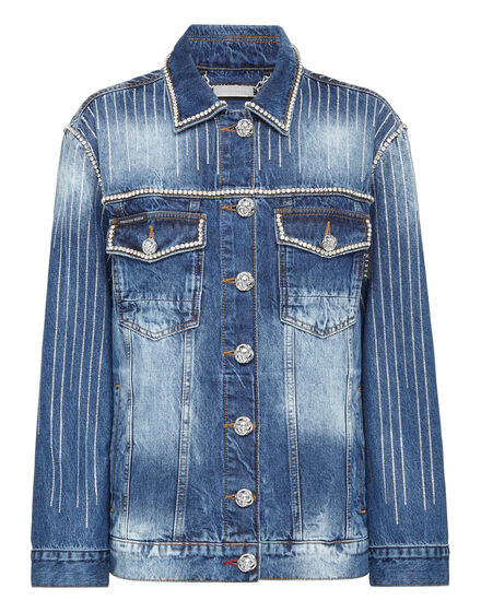 Denim Jacket Crystal Fringe
