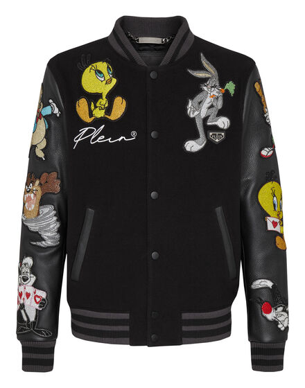 Wool Bomber leather sleeves  Looney Tunes