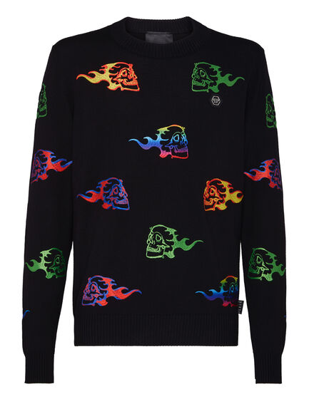 Pullover Round Neck LS Skull on fire