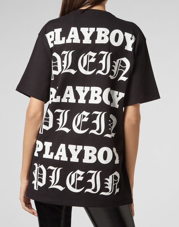 T-shirt Black Cut Round Neck Playboy
