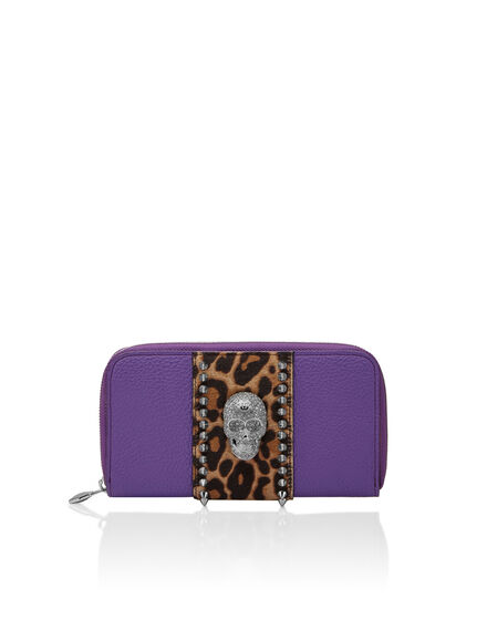zip around skull crystal Leopard