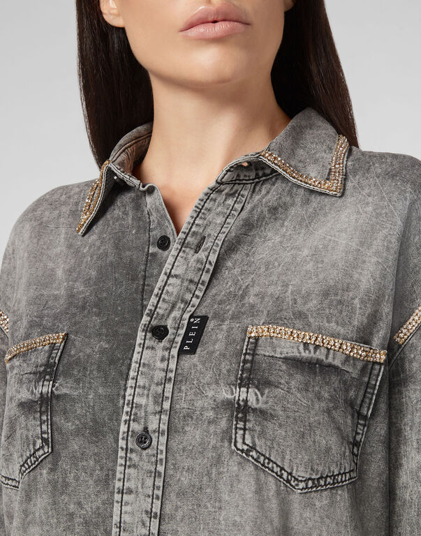 Denim Shirt Ls Crystal