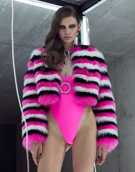 Fur Coat Short Stripes