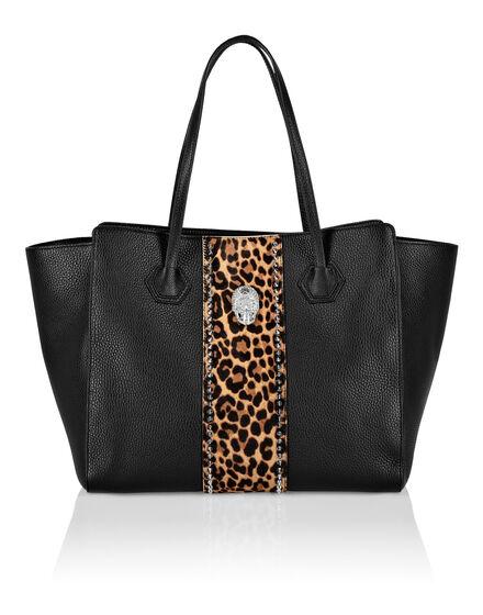 Handle bag big size skull crystal Leopard