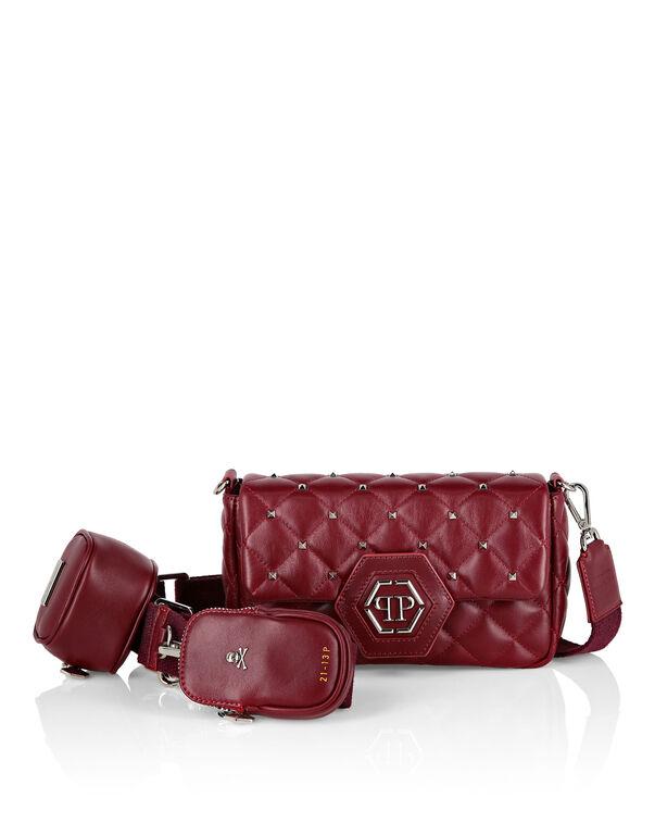 Calf Leather Mini Shoulder Bag Studs