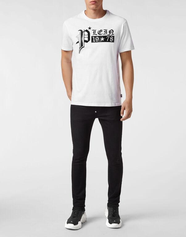 T-shirt Black Cut Round Neck Gothic Plein