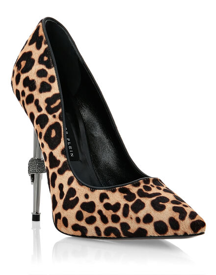 Poni Leather Decollete Hi-Heels Leopard