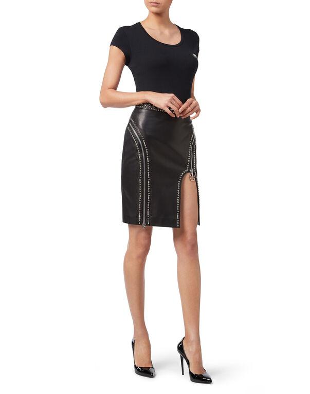 "Leather Skirt Short ""Crazy Shape"""