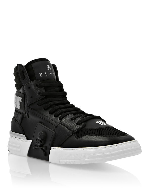 PHANTOM KICK$ Hi-Top Leather Mix Skull