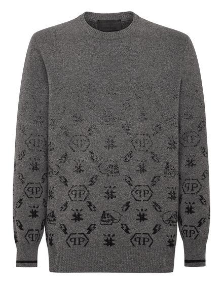Wool Pullover Round Neck LS Jacquard Degradè Monogram