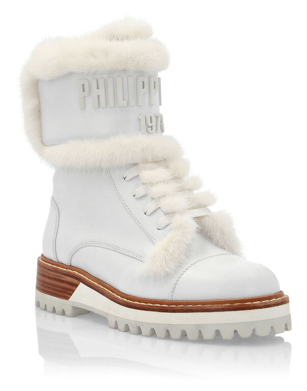 Leather Boots Low Flat mink fur insert PP1978