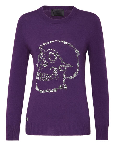 Pullover Round Neck LS Look At Me  Skull crystal