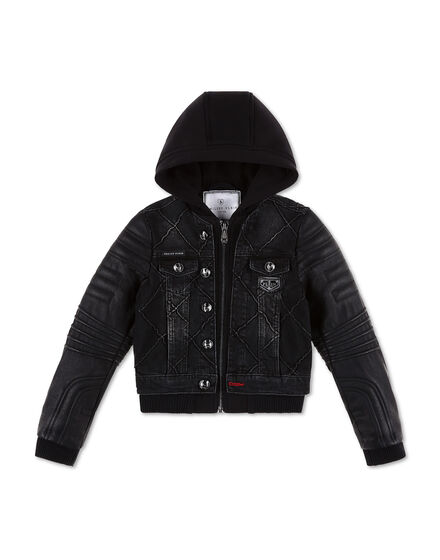 Denim Jacket with jersey hoodie Iconic Plein