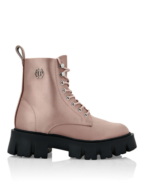 Satin Boots Mid Flat Iconic Plein