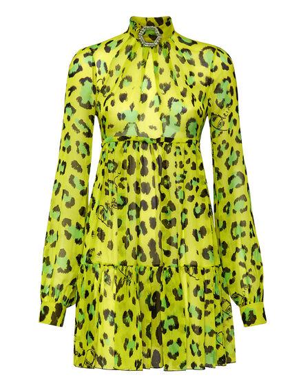 Silk Short Dress print Leopard