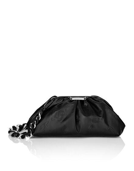 Leather Pillow bag Embossed Monogram