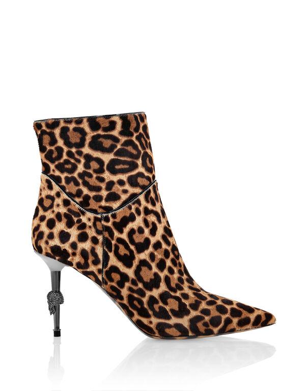 Poni leather Boots Mid Heels Mid Leopard