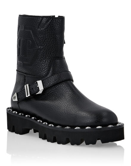 Leather Biker Boots Monogram