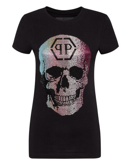 T-shirt Round Neck SS Rainbow Skull strass