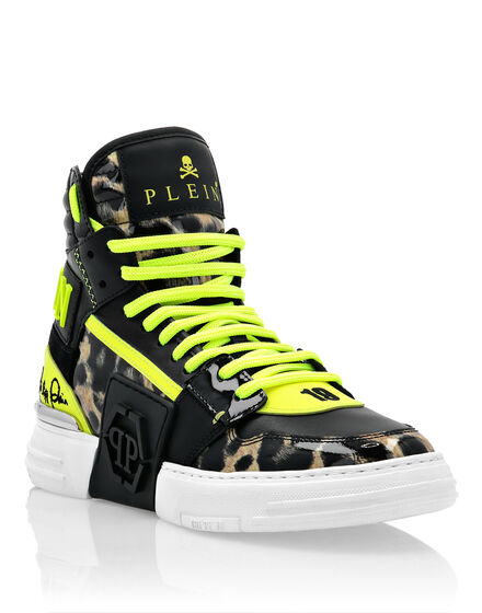 Patent Leather PHANTOM KICK$ Hi-Top Sneakers Leopard