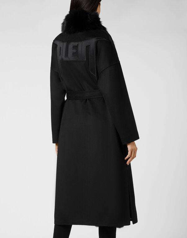 Cashmere Coat Fox collar Luxury