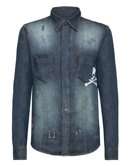 Denim Shirt Ls  Skull