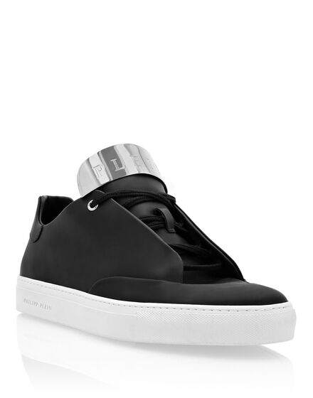 Rubber Leather Lo-Top Sneakers Silver $urfer TM