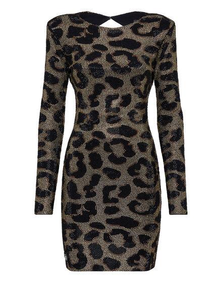 Short Dress Full of stones Leopard