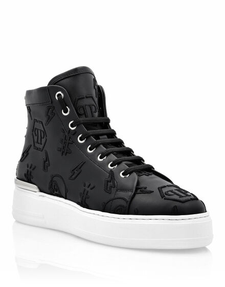 Leather Hi-Top Sneakers Embroidery Monogram