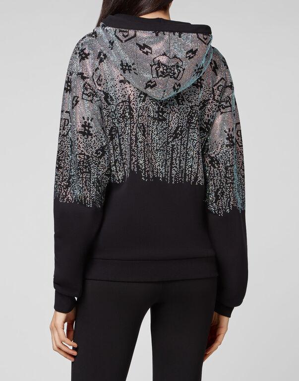 Hoodie sweatshirt Crop Degradè Crystal Monogram