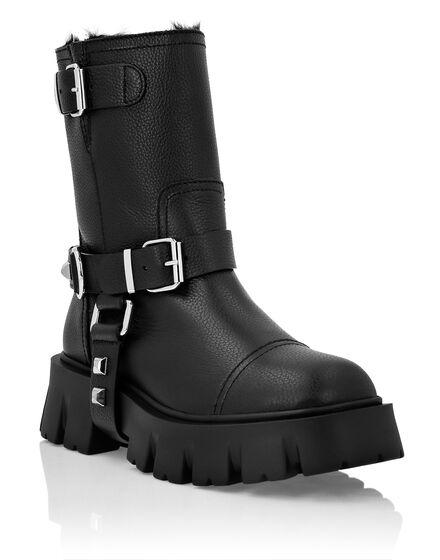 Leather Biker Boots Studs