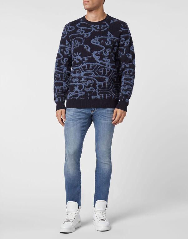 Merino wool Pullover Round Neck LS Jacquard All Over Hexagon