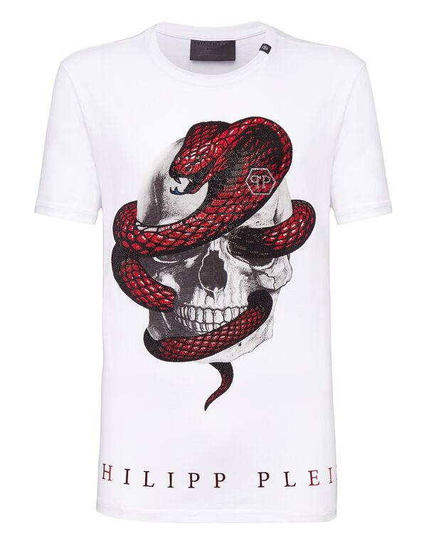 "T-shirt Round Neck SS ""Strass snake"""