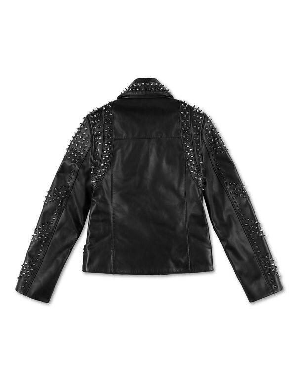 Leather Biker Crystal Stones Crystal