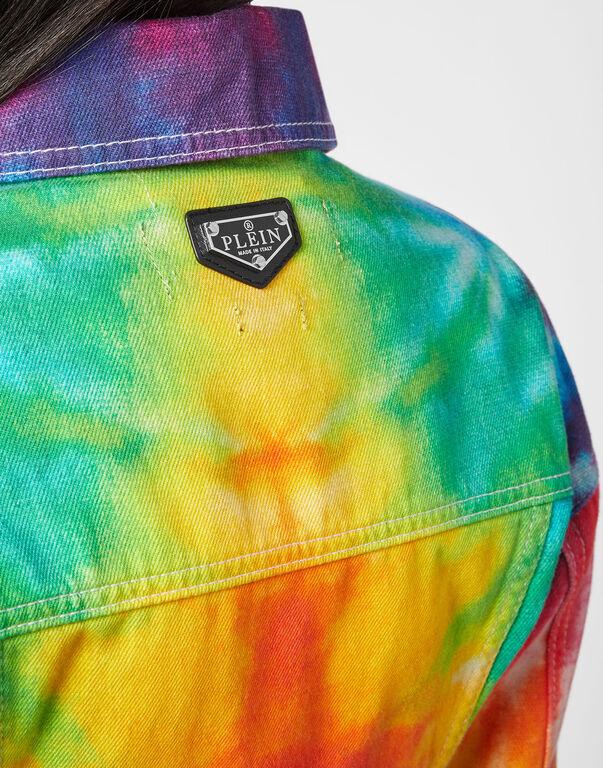 Denim Cropped Over Jacket Tie dye