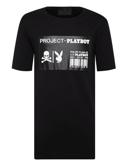 T-shirt Black Cut Round Neck Playboy