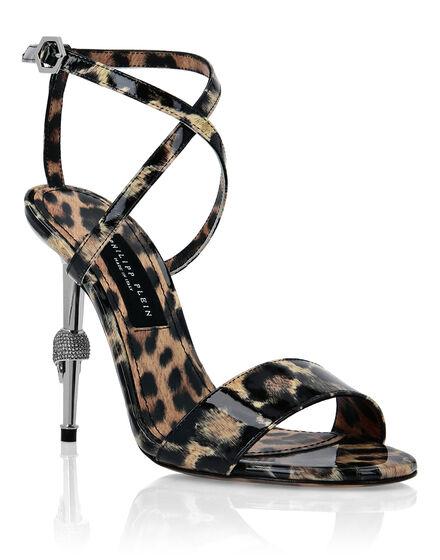 Patent Leather Open Toe Hi-Heels Leopard