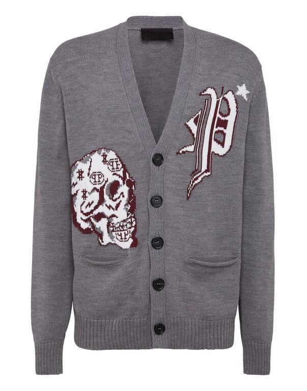 Merino wool Cardigan Short Jacquard Skull