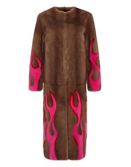 Hell Flames Intarsia Mink Fur Long Coat