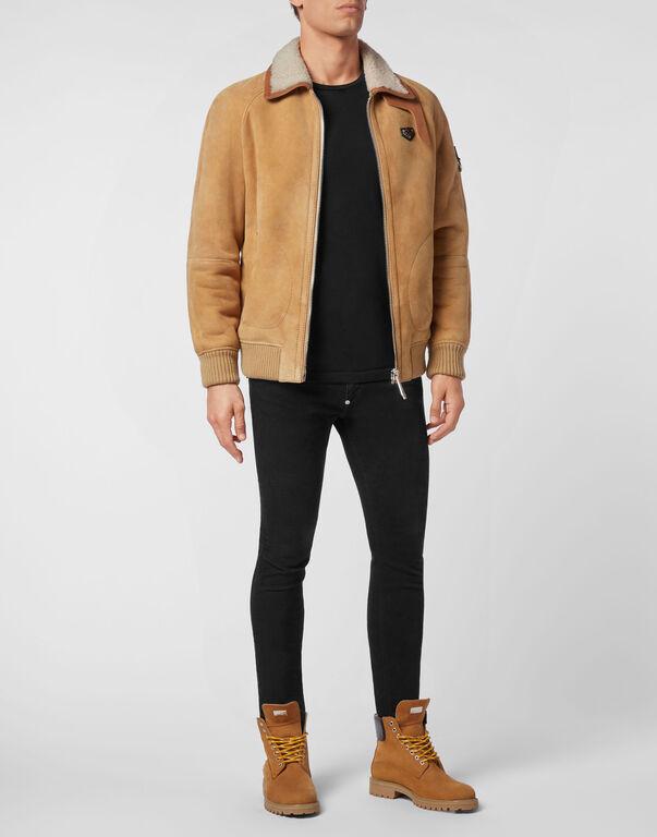 Shearling leather jacket Iconic Plein
