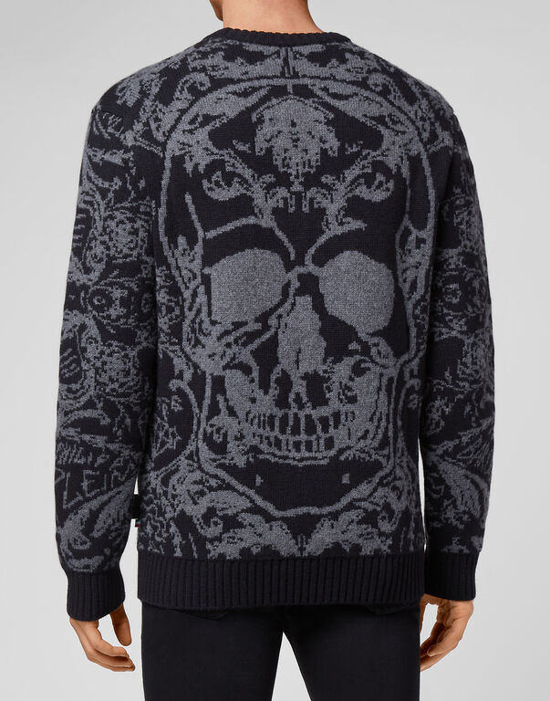 Wool Pullover Round Neck LS Jacquard New Baroque