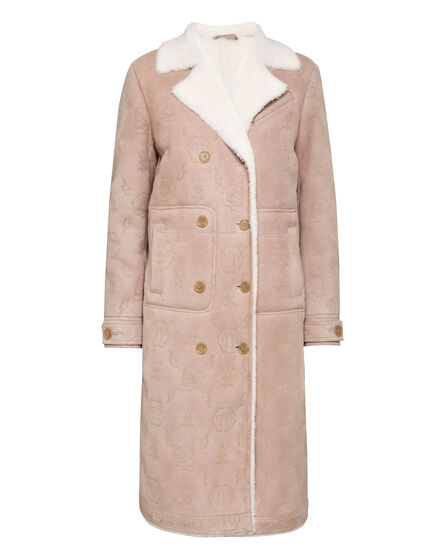 Shearling Leather Long Coat Monogram