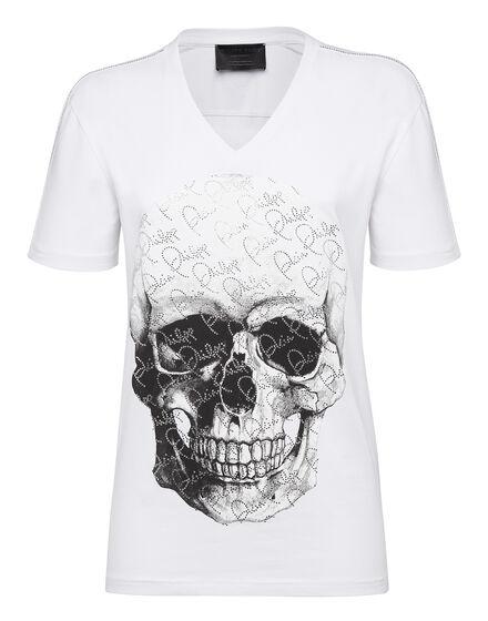T-shirt V-Neck SS Crystal and Skull