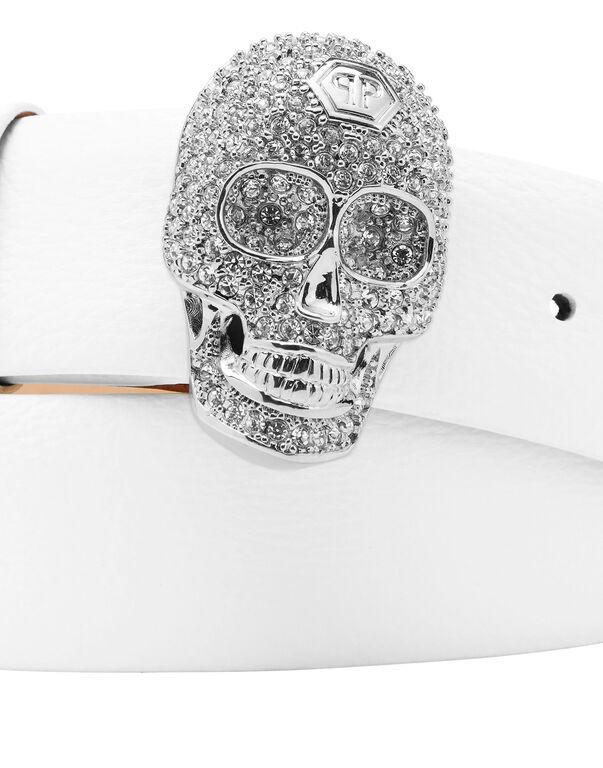 Leather Belt Skull strass
